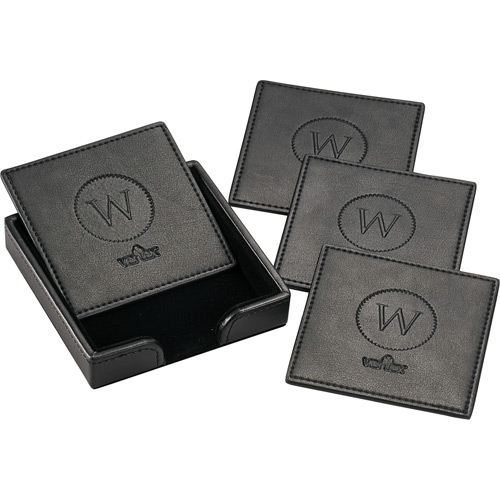 Square Leather Coaster Set-Buy Leather Coaster,PU leather Co