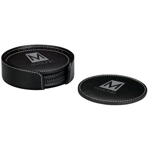 Round Leather 4 Coaster Set-Buy Leather Coaster,PU leather C